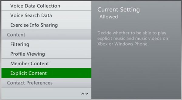 Xbox 360 content tab