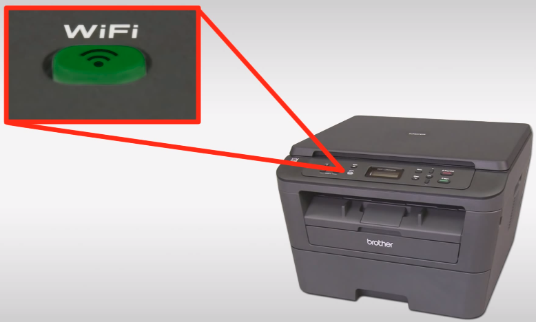 Highlight of the Epson printer's Wi-Fi button remaining lit after a successful connection.
