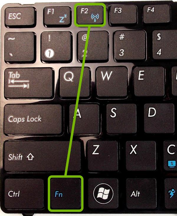 Fn + Wi-Fi key highlighted on keyboard.