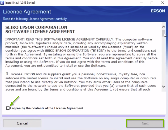 Epson printer installation license agreement screen highlighting the I agree check box and next button.