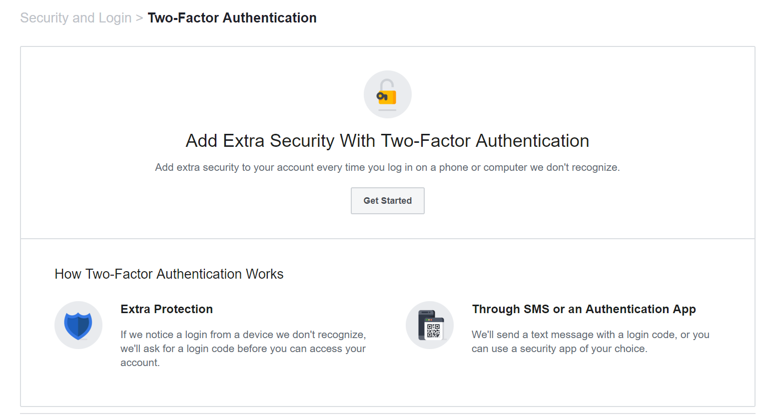 Get started with two-factor authentication