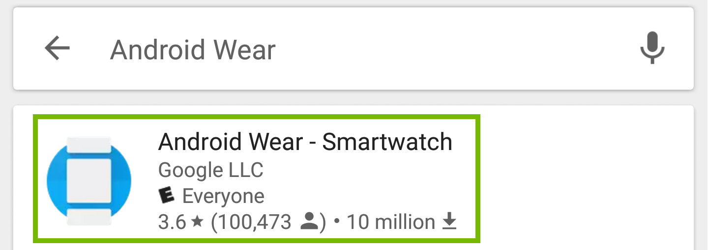 Play store search with android wear smartwatch highlighted