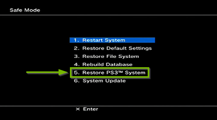Safe mode screen with Restore PS3 system highlighted