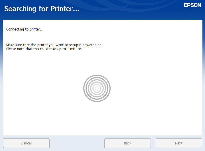 Network printer search progress screen.