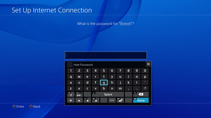 page asking for Wi-Fi password and shows virtual keyboard