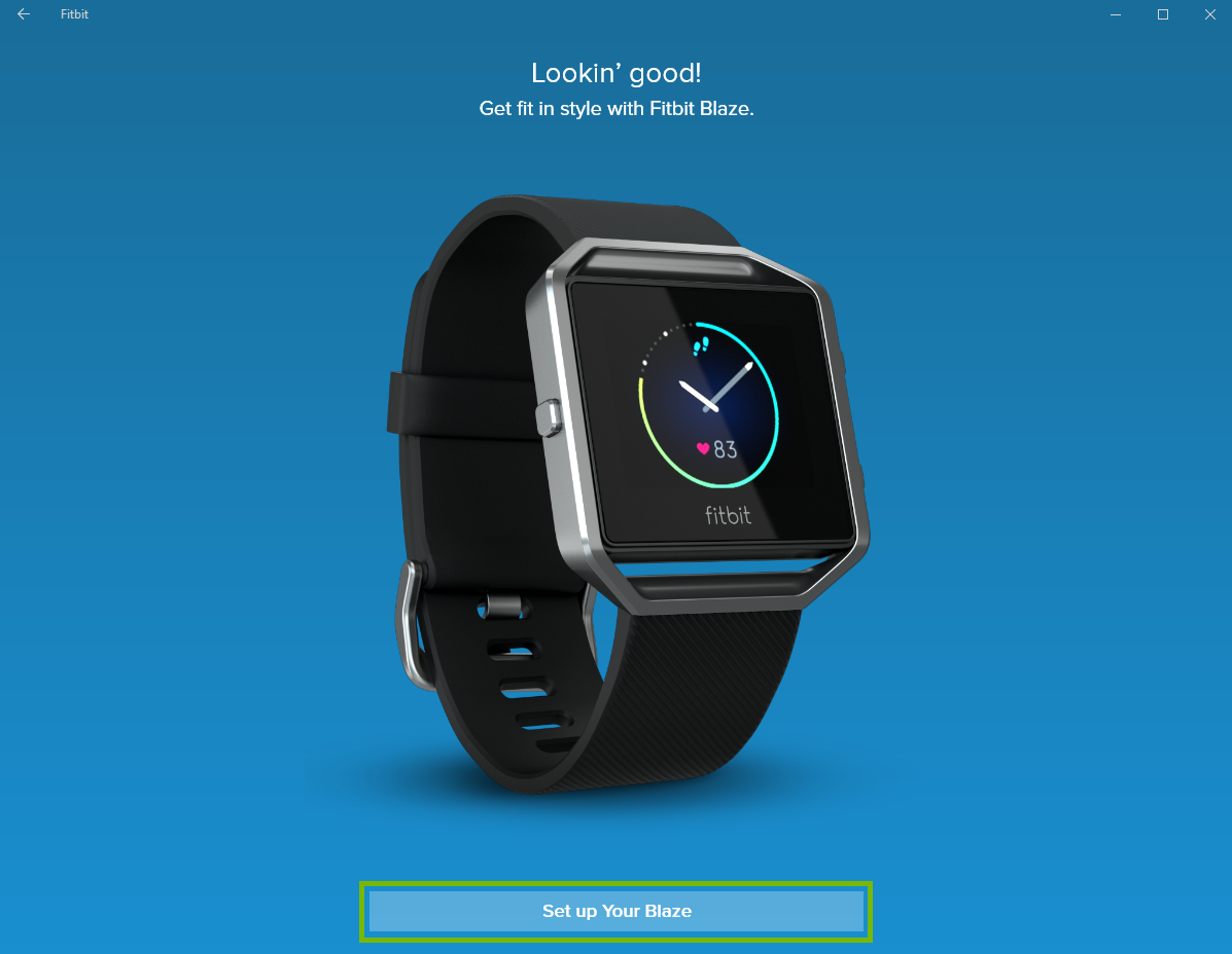 Fitbit app with Setup your device highlighted