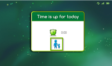Screenshot of the LeapPad Ultimate's interface displaying a time is up for today prompt, highlighting a parent and child icon.