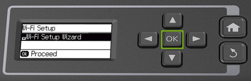 Printer control panel highlighting the OK button.