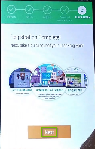 Registration complete page with Next button highlighted below.