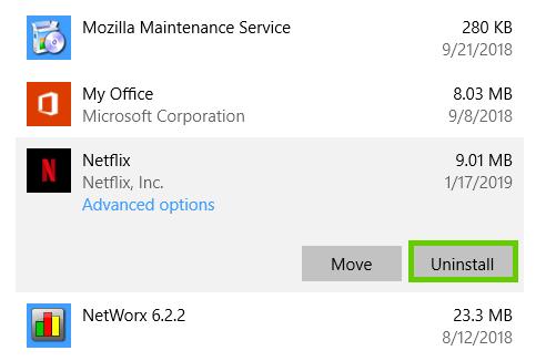 Windows 10 netflix uninstall