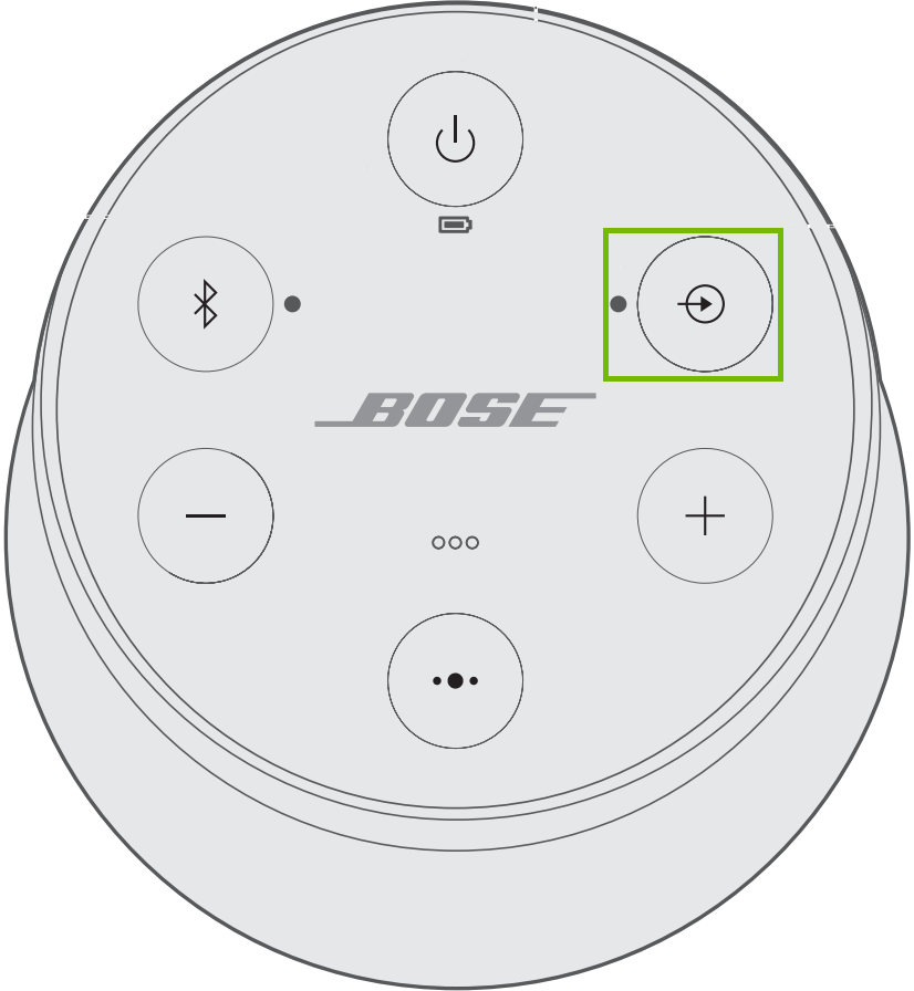 Speaker controls with Aux highlighted