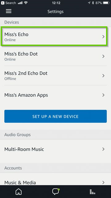 Amazon Alexa app showing a list of connected devices