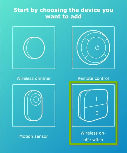 Wireless on/off switch highlighted on device selection screen of IKEA Home Smart app.