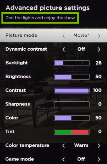 Header text highlighted in Advanced Picture Settings.