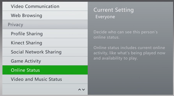 Xbox 360 privacy settings