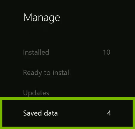 Saved data option highlighted in Xbox One menu.