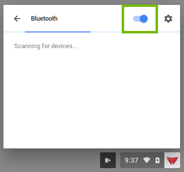 bluetooth with on off switch highlighted