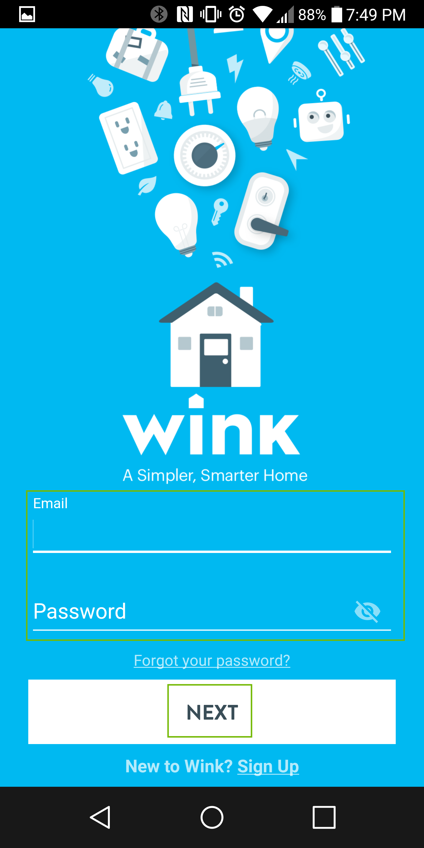 wink sign-in with e-mail and password fields highlighted