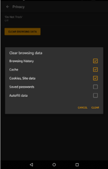 Amazon Kindle Silk settings for clearing browsing data