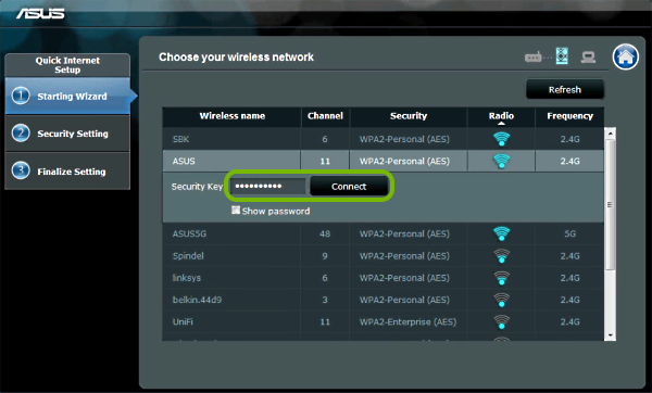 Password entry field and Connect button highlighted in range extender setup wizard.