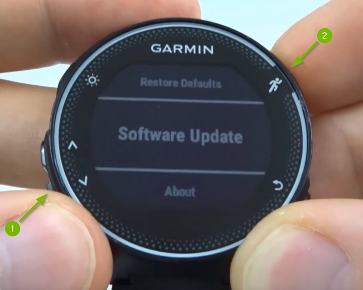 Garmin Forerunner with Software Update selected on screen.