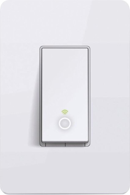 Smart light switch with Wi-Fi light turned on.