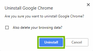 Uninstall conformation with Uninstall highlighted.