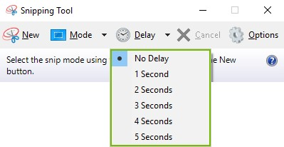 Delay menu highlighted