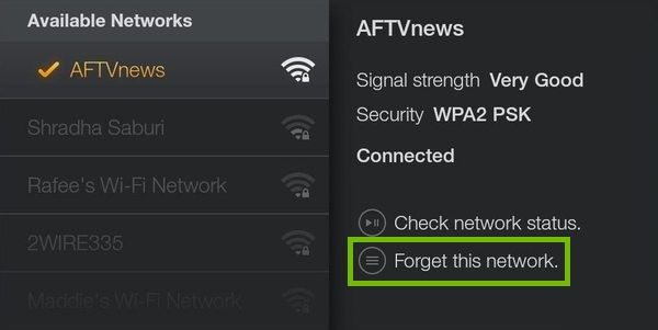 Network selection with Forget highlighted.