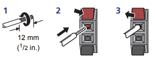 A diagram showing how to push the speaker wire into the connections