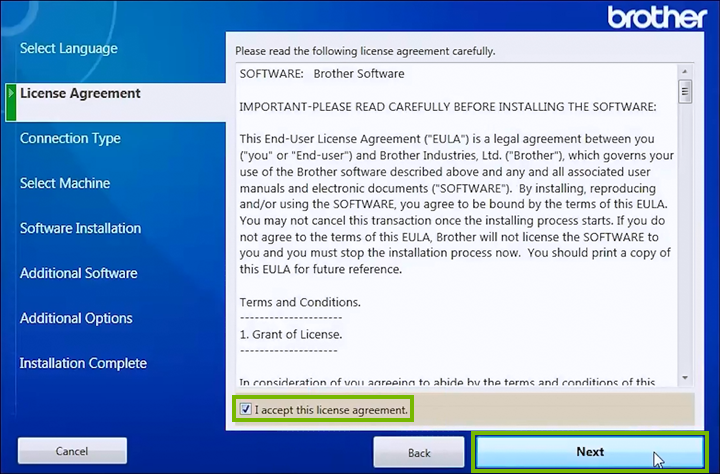 License Agreement acceptance screen.