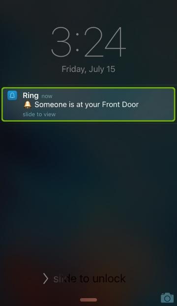 Phone screen showing alert