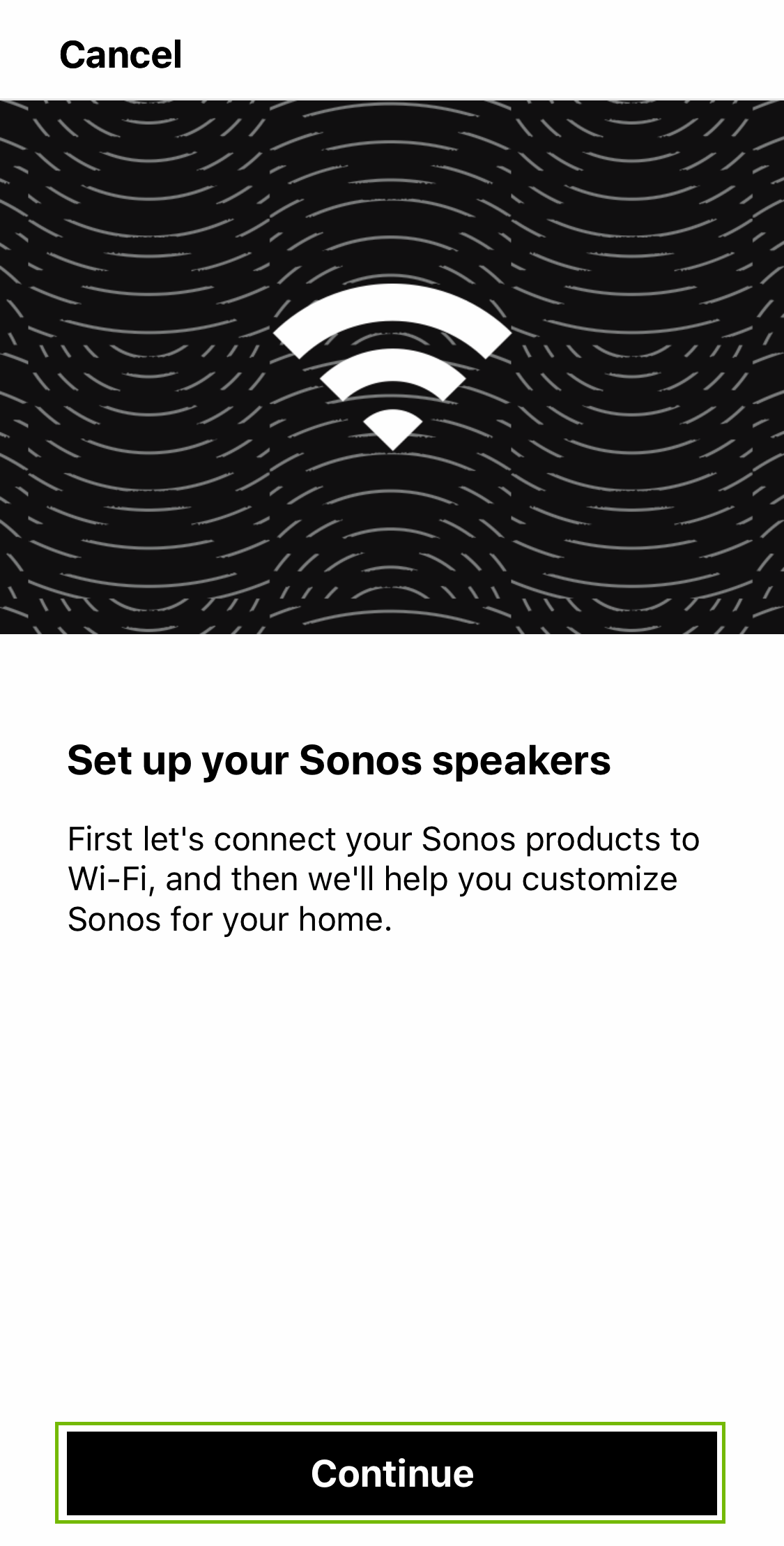 Speaker setup with continue highlighted