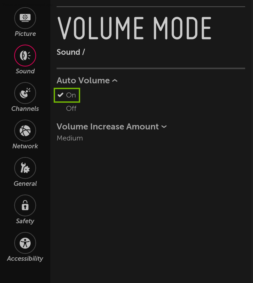 Volume Mode with auto volume on highlighted.