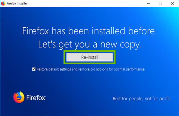 Firefox installer with Re-install highlighted.