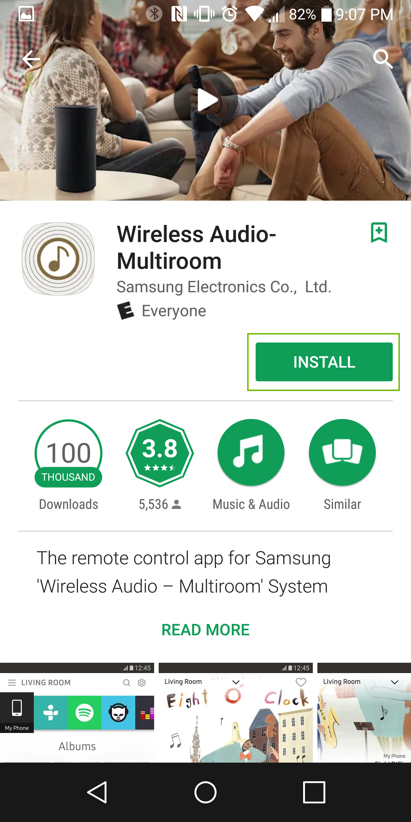 Wireles Audio-Multiroom app page with install highlighted
