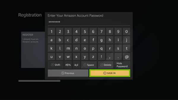 Password entry screen for Fire TV registration.