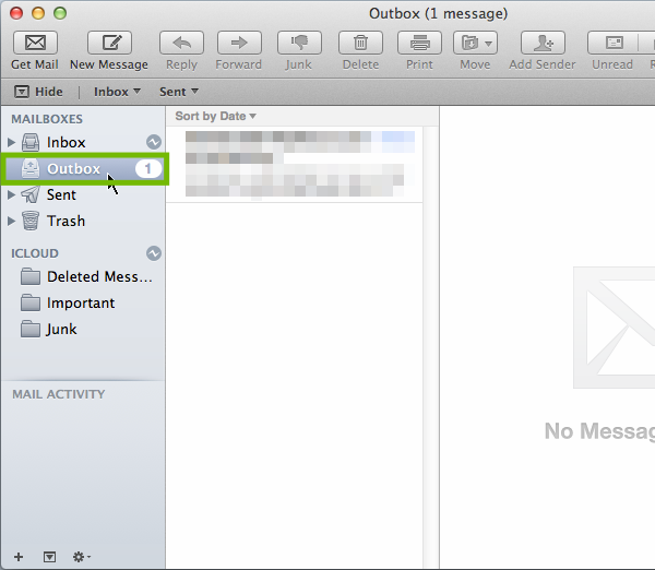 Mail program Outbox.