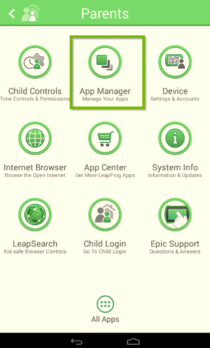 LeapFrog Epic's parents menu with the app manager icon highlighted.