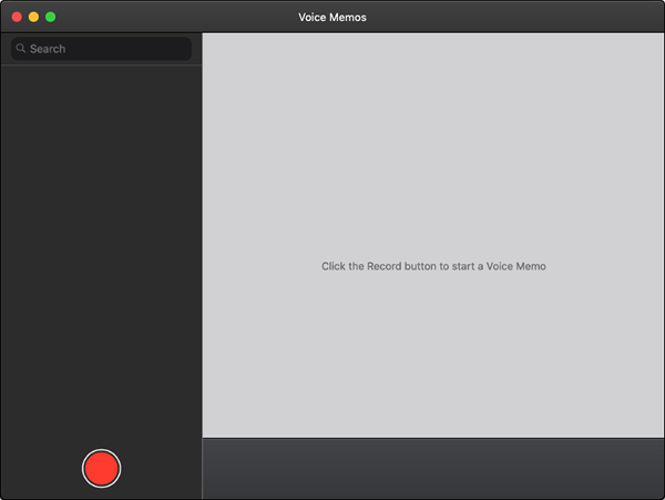 Voice memos record screen.