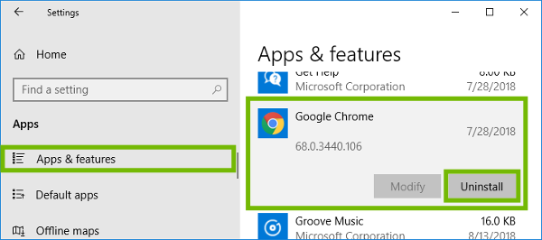 Apps and features with Chrome and Uninstall highlighted.