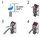 Diagram showing how to insert cable wires into speaker jacks