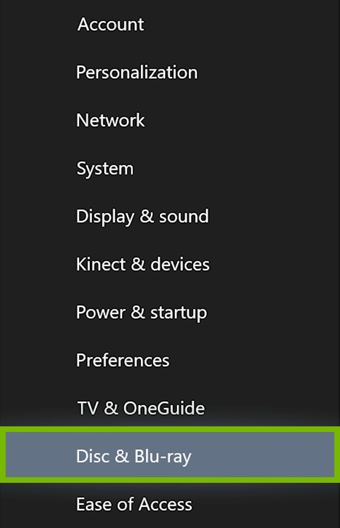 Disc & Blu-ray option highlighted in Xbox One settings.