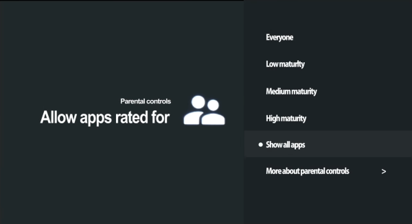 Maturity level selection screen for Google Play apps.