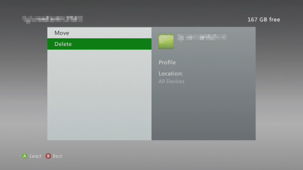 Delete option selected in Xbox 360 settings.