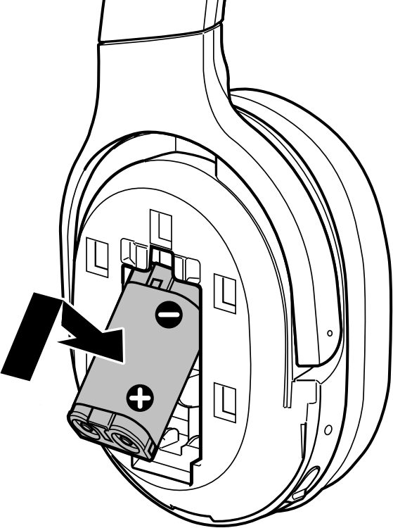 Inserting the battery pack into the earcup. Illustration.
