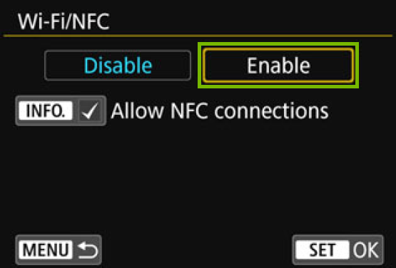 Wi-Fi NFC screen with enable highlighted