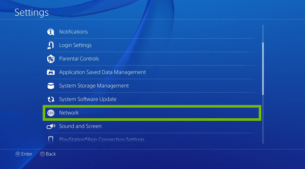 Network option highlighted in PlayStation 4 settings.