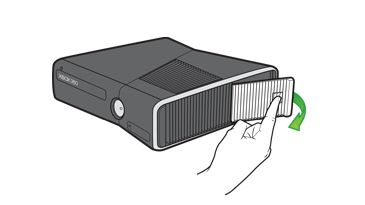 Removing the hard drive access panel. Illustration.