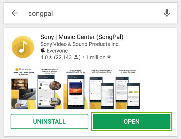 SongPal with Open highlighted.